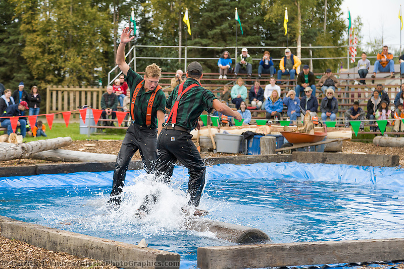 Log rolling competition at the Alaska State Fair, Palmer, Alaska.