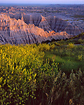 Badlands National Park, SD  <br /> Sunset light on the eroded landfoms at the Pinnacles Overlook