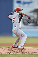 Hickory Crawdads starting pitcher Yohander Mendez (21) delivers a pitch during game 3 of the South Atlantic League Championship Series between the Asheville Tourists and the Hickory Crawdads on September 17, 2015 in Asheville, North Carolina. The Crawdads defeated the Tourists 5-1 to win the championship. (Tony Farlow/Four Seam Images)