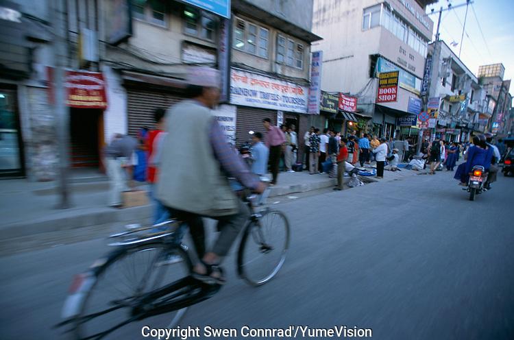 A bike in Ganga Path New Road Kathmandu City, Nepal