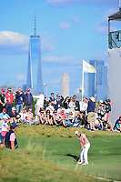 Kevin Kisner (USA) nearly sinks a long putt on 14 during round 2 Four-Ball of the 2017 President's Cup, Liberty National Golf Club, Jersey City, New Jersey, USA. 9/29/2017.<br /> Picture: Golffile | Ken Murray<br /> <br /> All photo usage must carry mandatory copyright credit (&copy; Golffile | Ken Murray)