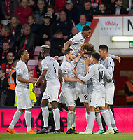 Celebrations after Chris Smalling of Man Utd scores a goal during the Premier League match between Bournemouth and Manchester United at the Goldsands Stadium, Bournemouth, England on 18 April 2018. Photo by Andy Rowland.