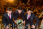 The Home Coming -The Kerry Minor Team are Welcomed back to Dingle on Tuesday Pictured Kerry Minors Tom O'Sullivan, Connor Geaney and Mark O'Connor with the Tom Markham Cup welcomed by the Crowd