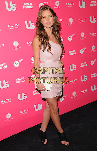 AUDRINA PATRIDGE.The Annual US Weekly Hot Hollywood Style Party at Drai's in Hollywood, California, USA..April 22nd, 2010.full length partridge white pink cream one shoulder dress chanel clutch bag open toe ankle boots sandals ruched black.CAP/RKE/DVS.©DVS/RockinExposures/Capital Pictures.