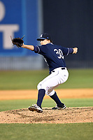 Asheville Tourists pitcher Matt Dennis (30) delivers a pitch during a game against the Greensboro Grasshoppers at McCormick Field on April 28, 2017 in Asheville, North Carolina. The Grasshoppers defeated the Tourists 7-4. (Tony Farlow/Four Seam Images)
