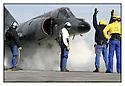 Mer M&eacute;diterran&eacute;e<br /> Porte Avions Charles de Gaulle Catapultage d'un Super Etendard.