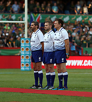 PRETORIA, SOUTH AFRICA - OCTOBER 06: (L) to (R) Assistant Referee Jerome Garces (France) with Referee Angus Gardner (Australian) and Assistant Referee Matthew Carley (England) during the Rugby Championship match between South Africa Springboks and New Zealand All Blacks at Loftus Versfeld Stadium. on October 6, 2018 in Pretoria, South Africa. Photo: Steve Haag / stevehaagsports.com
