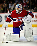 10 April 2010: Montreal Canadiens' goaltender Carey Price warms up prior to a game against the Toronto Maple Leafs at the Bell Centre in Montreal, Quebec, Canada. The Maple Leafs defeated the Canadiens 4-3 in sudden death overtime. Mandatory Credit: Ed Wolfstein Photo