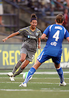 Estelle Johnson #24 of the Philadelphia Independence moves towards Jordan Angeli #4 of the Boston Breakers during a WPS match at John A. Farrell Stadium on August 29 2010, in West Chester, PA. Breakers won 2-1.