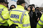 © Joel Goodman - 07973 332324 . 25/02/2017. Telford, UK. Opposition groups against a Britain First demonstration in Telford . Britain First say they are highlighting concerns about child sexual exploitation in the town . Photo credit : Joel Goodman