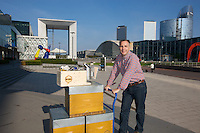 Nicolas Geant, beehive, urban beekeeper, EDF tower, La defense, Paris