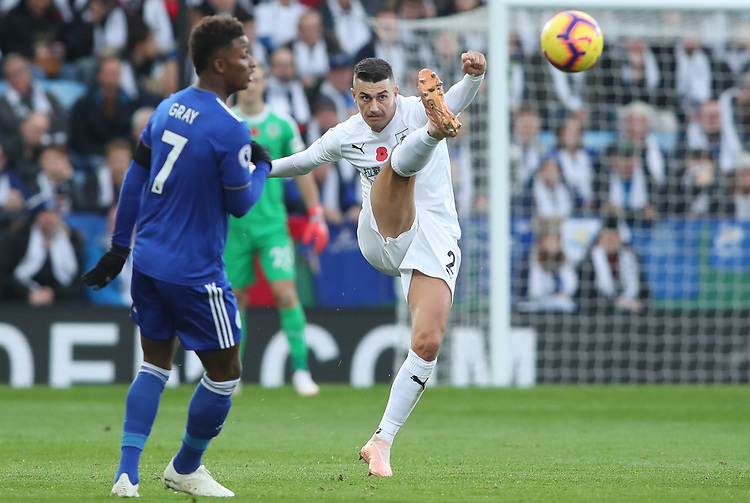 Burnley's Matthew Lowton and Leicester City's Demarai Gray<br /> <br /> Photographer Rachel Holborn/CameraSport<br /> <br /> The Premier League - Saturday 10th November 2018 - Leicester City v Burnley - King Power Stadium - Leicester<br /> <br /> World Copyright © 2018 CameraSport. All rights reserved. 43 Linden Ave. Countesthorpe. Leicester. England. LE8 5PG - Tel: +44 (0) 116 277 4147 - admin@camerasport.com - www.camerasport.com