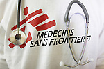 Doctors Without Borders logo on a T-shirt, with a stethoscope
