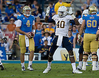 Chris McCain of California celebrates after sacking UCLA quarterback Kevin Prince during the game at Rose Bowl in Pasadena, California on October 29th, 2011.  UCLA defeated California, 31-14.