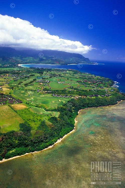 Aerial of the Princeville hotel on Kauai