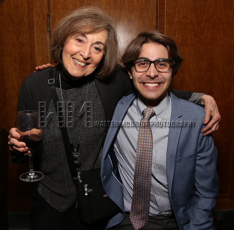 Nancy Ford and Daniel Lazour attends the Dramatists Guild Fund Salon With Rick Elice at the Cornell Club on March 6, 2017 in New York City.
