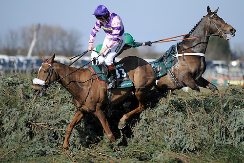 06.04.2013 Aintree, England.  The Grand National Festival. John Smith's Liverpool Hurdle.Action from the last fence. Mumbles Head ridden by Jamie Moore hesitates at the last fence