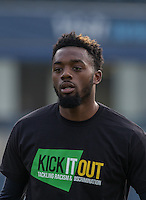 Gozie Ugwu of Wycombe Wanderers  in his Kick it Out Shirt during the Sky Bet League 2 match between Wycombe Wanderers and Stevenage at Adams Park, High Wycombe, England on 12 March 2016. Photo by Andy Rowland/PRiME Media Images.