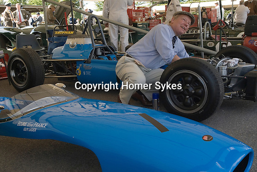 Goodwood Festival of Speed. Goodwood Sussex. UK. Interview Mr Christian Ames Blue Bugati car.