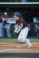Bryson Bebber (2) of Kannapolis Post 115 follows through on his swing against Mooresville Post 66 during an American Legion baseball game at Northwest Cabarrus High School on May 30, 2019 in Concord, North Carolina. Mooresville Post 66 defeated Kannapolis Post 115 4-3. (Brian Westerholt/Four Seam Images)