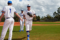 South Dakota State Jackrabbits right fielder Logan Holtz (6) is greeted by Brett Barnett (7) in between innings during a game against the FIU Panthers on February 23, 2019 at North Charlotte Regional Park in Port Charlotte, Florida.  South Dakota State defeated FIU 4-3.  (Mike Janes/Four Seam Images)