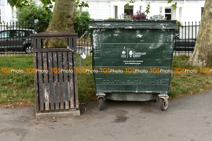 Additionial rubbish bins provided for litter at Primrose Hill during the coronavirus pandemic