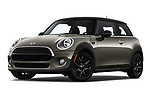 Stock pictures of low aggressive front three quarter view of a 2019 Mini Cooper Hardtop 2 Door 3 Door Hatchback