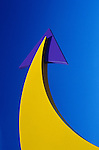 Yellow and purple arrow pointing up downtown parking lot Seattle Washington State USA