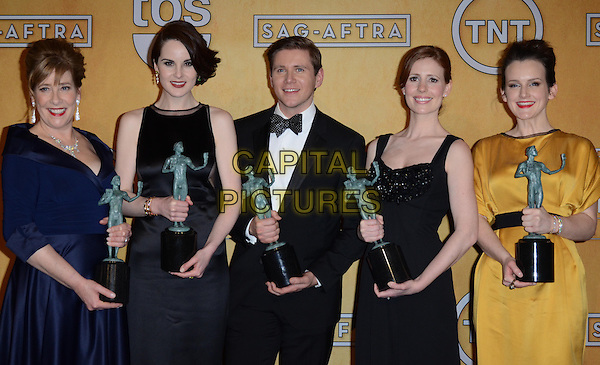 Phyllis Logan, Michelle Dockery (wearing Ralph Rucci), Allen Leech, Amy Nuttall, Sophie McShera.Pressroom at the 19th Annual Screen Actors Guild Awards held at The Shrine Auditorium, Los Angeles, California, USA..27th January 2013.SAG SAGs half length black sleeveless dress navy blue award trophy trophies winner winners white shirt bow tie tuxedo yellow downton abbey .CAP/ADM/TW.©Tonya Wise/AdMedia/Capital Pictures.