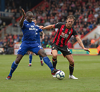 Cardiff City's Sol Bamba (left) vies for possession with Bournemouth's Dan Gosling (right) <br /> <br /> Photographer David Horton/CameraSport<br /> <br /> The Premier League - Bournemouth v Cardiff City - Saturday August 11th 2018 - Vitality Stadium - Bournemouth<br /> <br /> World Copyright &copy; 2018 CameraSport. All rights reserved. 43 Linden Ave. Countesthorpe. Leicester. England. LE8 5PG - Tel: +44 (0) 116 277 4147 - admin@camerasport.com - www.camerasport.com
