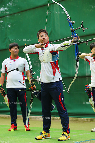 Naoya Oniyama (JPN), <br /> JULY 18, 2015 - Archery : <br /> Japan National Team Training <br /> for The World Archery Championships 2015 <br /> at JISS Archery Field, Tokyo, Japan. <br /> (Photo by YUTAKA/AFLO SPORT)