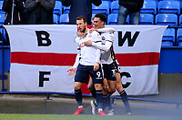 Bolton Wanderers'  Adam Le Fondre  celebrates scoring Bolton Wanderers' first goal.<br /> <br /> Photographer Leila Coker/CameraSport<br /> <br /> The EFL Sky Bet Championship - Bolton Wanderers v Fulham - Saturday 10th February 2018 - Macron Stadium - Bolton<br /> <br /> World Copyright &copy; 2018 CameraSport. All rights reserved. 43 Linden Ave. Countesthorpe. Leicester. England. LE8 5PG - Tel: +44 (0) 116 277 4147 - admin@camerasport.com - www.camerasport.com