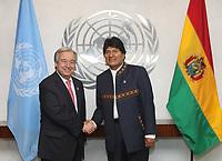 NEW YORK,NY, 05.06.2017 - ONU-BOLIVIA - Evo Morales Presidente da Bolivia durante visita ao secretario geral da ONU, Antonio Guterres na sede da ONU em Manhatan New York nesta segunda-feira,05. (Foto: Vanessa Carvalho/Brazil Photo Press)