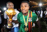 Esultanza Christopher Katongo con la coppa.Libreville 12/2/2012 .Football Calcio 2012.Coppa d'Africa.Zambia Costa d'Avorio.Foto Insidefoto / Christian Liewig / FEP / Panoramic.ITALY ONLY