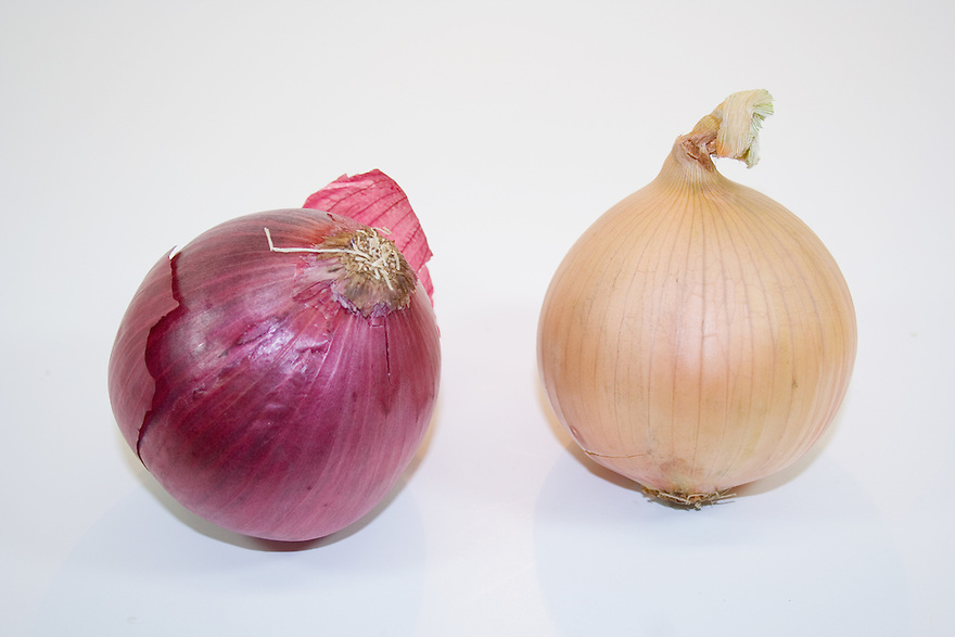 Red and white onions isolated on white