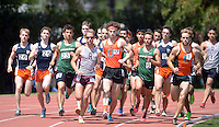 Apr 11, 2015; Los Angeles, CA, USA; Colin Smith of Occidental College (17) wins the 1,500m in 4:06.56 in a SCIAC multi dual meet at Occidental College. Photo by Kirby Lee