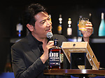 "October 19, 2017, Tokyo, Japan - Japanese actor and actress Tetsuya Bessho drnks whisky as he attends an opening event for the ""Amazon Bar"", produced by online commerce giant Amazon in Tokyo on Thursday, Octoebr 18, 2017. Amazon Japan will open a pop-up bar which has 5,000 alcoholic drinks at Tokyo's fashion district of Ginza from October 20 through 29.    (Photo by Yoshio Tsunoda/AFLO) LWX -ytd-"