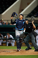 Tampa Tarpons catcher Jason Lopez (10) during a Florida State League game against the Lakeland Flying Tigers on April 5, 2019 at Publix Field at Joker Marchant Stadium in Lakeland, Florida.  Lakeland defeated Tampa 5-3.  (Mike Janes/Four Seam Images)