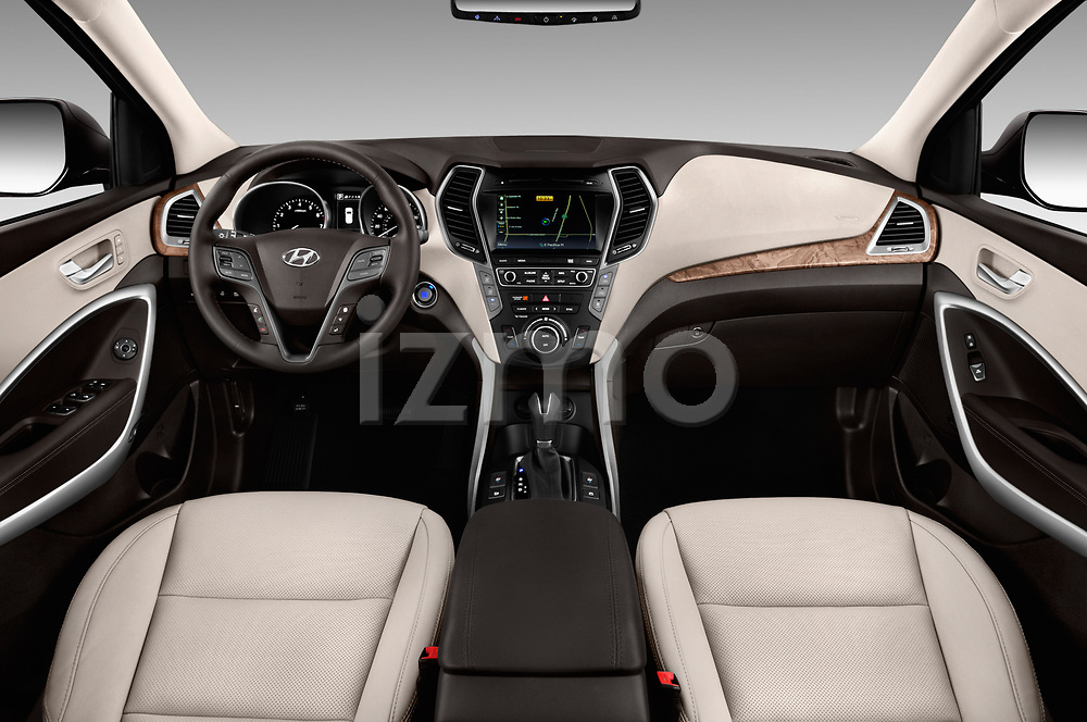 Stock photo of straight dashboard view of 2018 Hyundai Santa-Fe Limited-Ultimate-FWD 5 Door SUV Dashboard