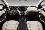 Stock photo of straight dashboard view of 2017 Hyundai Santa-Fe Limited-Ultimate-FWD 5 Door SUV Dashboard