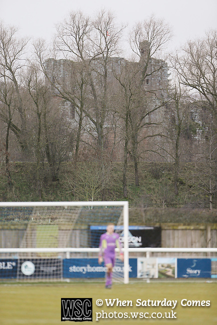 Brougham Castle overlooks the West side of Frenchfield Park. Penrith AFC V Hebburn Town, Northern League Division One, 22nd December 2018. Penrith are the only Cumbrian team in the Northern League. All the other teams are based across the Pennines in the north east.<br /> Penrith, winless at kick off, lost a thriller 3-4, in front of 100 people. They won five games all season, but were reprieved from relegation following Blyth's resignation from the league.
