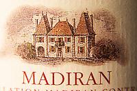 Bottle of Madiran detail of label with chateau Madiran France