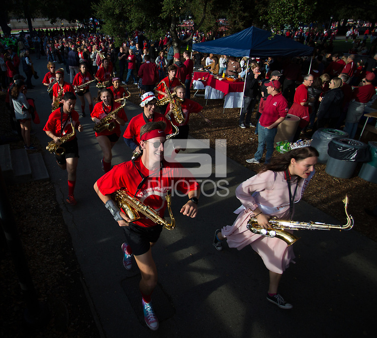 STANFORD, CA - November 18, 2017: Stanford Band at Stanford Stadium. The Stanford Cardinal defeated Cal 17-14 to win its eighth straight Big Game.