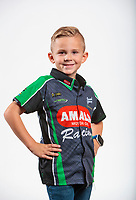 Feb 5, 2020; Pomona, CA, USA; Cameron McMillen, son of NHRA top fuel driver Terry McMillen (not pictured) poses for a portrait during NHRA Media Day at the Pomona Fairplex. Mandatory Credit: Mark J. Rebilas-USA TODAY Sports