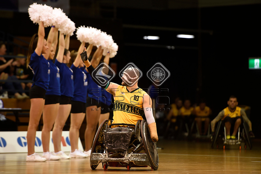 Opening Ceremony - Chris Bond (Aus)<br /> Australian Wheelchair Rugby Team<br /> 2018 IWRF WheelChair Rugby <br /> World Championship / Day 1<br /> Sydney  NSW Australia<br /> Sunday 5th August 2018<br /> &copy; Sport the library / Jeff Crow / APC