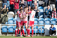 Jason Cowley of Stevenage celebrates the opening goal during Colchester United vs Stevenage, Sky Bet EFL League 2 Football at the JobServe Community Stadium on 5th October 2019