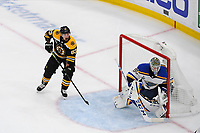 June 12, 2019: Boston Bruins left wing Brad Marchand (63) waits for the puck as St. Louis Blues goaltender Jordan Binnington (50) protects the net during game 7 of the NHL Stanley Cup Finals between the St Louis Blues and the Boston Bruins held at TD Garden, in Boston, Mass.  The Saint Louis Blues defeat the Boston Bruins 4-1 in game 7 to win the 2019 Stanley Cup Championship.  Eric Canha/CSM.