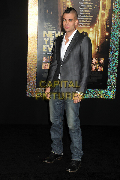 "Mark Salling.The World Premiere of ""New Year's Eve' held at The Grauman's Chinese Theatre in Hollywood, California, USA..December 5th, 2011.full length white shirt grey gray mohawk hair jacket jeans denim.CAP/ADM/BP.©Byron Purvis/AdMedia/Capital Pictures."