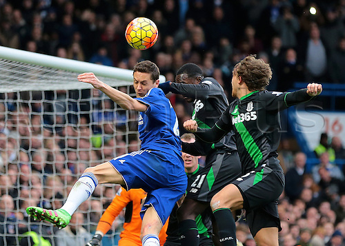 05.03.2016. Stamford Bridge, London, England. Barclays Premier League. Chelsea versus Stoke City. Chelsea Midfielder Nemanja Matić wins a header against Stoke City Midfielder Gianelli Imbula