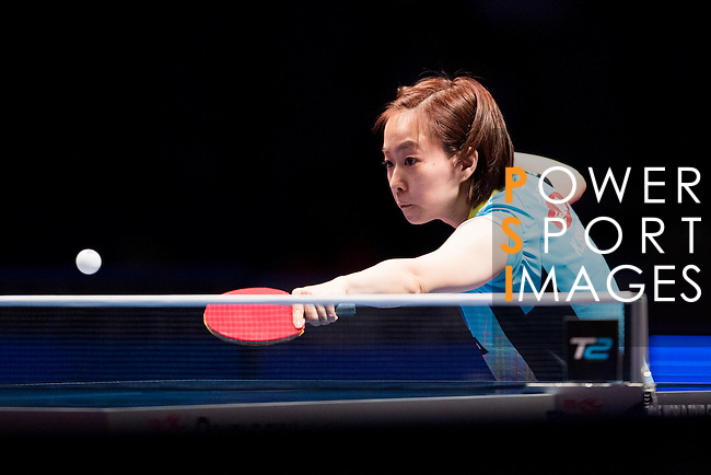 Yuling Zhu of China vs Kasumi Ishikawa of Japan at their Women's Singles Semi Final match during the Seamaster Qatar 2016 ITTF World Tour Grand Finals at the Ali Bin Hamad Al Attiya Arena on 10 December 2016, in Doha, Qatar. Photo by Victor Fraile / Power Sport Images